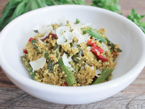 Featured quinoa risotto with roasted asparagus sun dried tomatoes and herbs 5