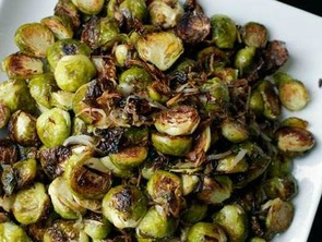 Featured roasted brussel sprouts with turkey bacon