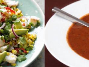 Featured soup and ceviche