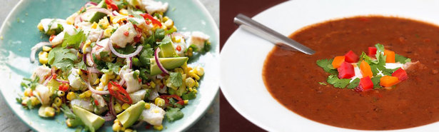 Ceviche de Pescado and Black Bean Soup